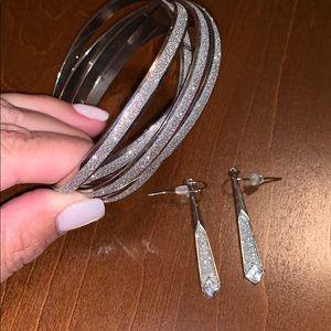 Silver glittery dangle bracelets/earrings